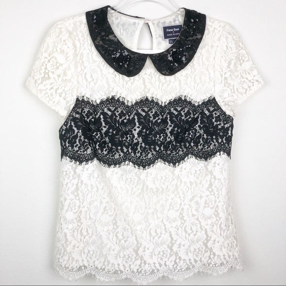 4P NEW Anthropologie Lace Latitude Blouse From Peter Som x Made in Kind sz 0P